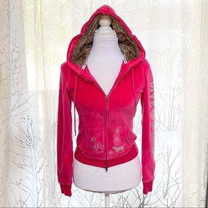Pink Victorias Secret velour zip up hoodie sweater